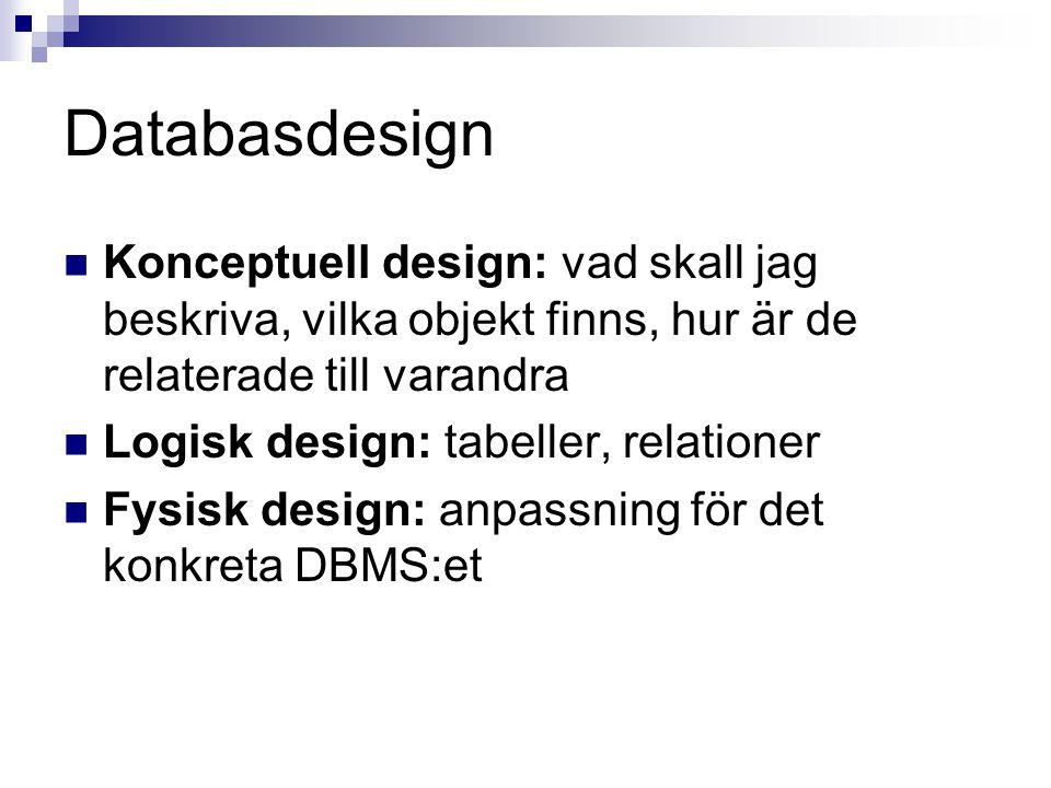 Databasdesign  Konceptuell design: vad skall jag beskriva, vilka objekt finns, hur är de relaterade till varandra  Logisk design: tabeller, relationer  Fysisk design: anpassning för det konkreta DBMS:et