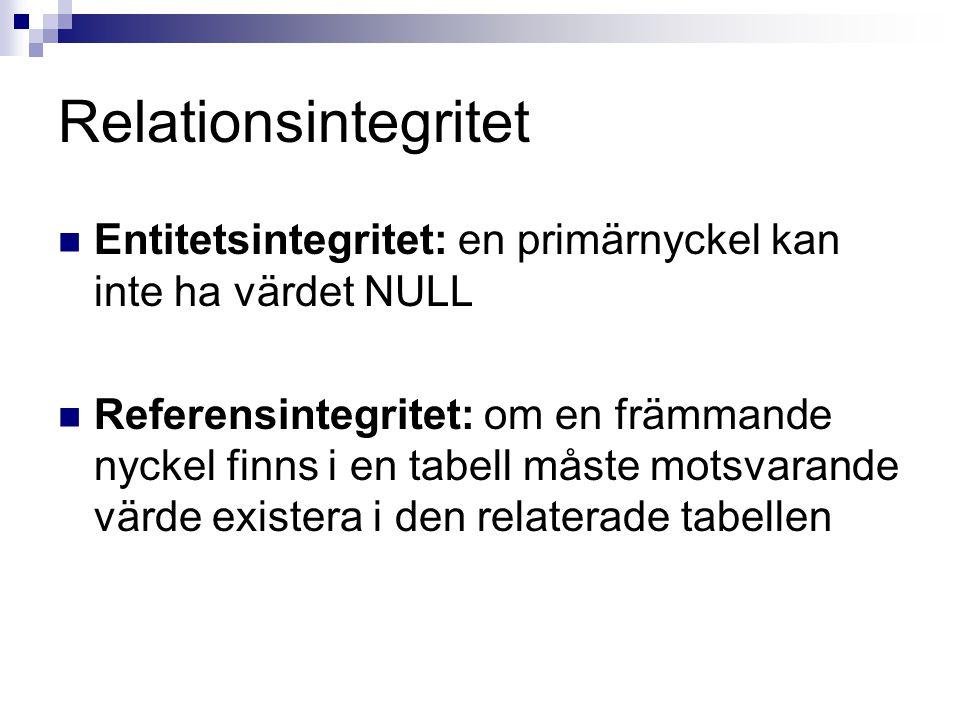 Relationsintegritet  Entitetsintegritet: en primärnyckel kan inte ha värdet NULL  Referensintegritet: om en främmande nyckel finns i en tabell måste motsvarande värde existera i den relaterade tabellen