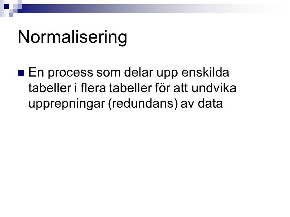 Normalisering  En process som delar upp enskilda tabeller i flera tabeller för att undvika upprepningar (redundans) av data