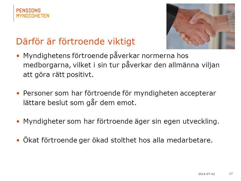 För att uppdatera sidfotstexten, gå till menyn: Visa/Sidhuvud och sidfot... 17 2014-07-02 Därför är förtroende viktigt •Myndighetens förtroende påverk