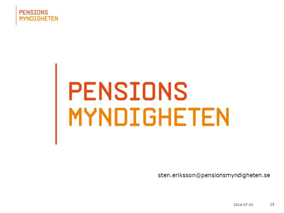 För att uppdatera sidfotstexten, gå till menyn: Visa/Sidhuvud och sidfot... 19 2014-07-02 sten.eriksson@pensionsmyndigheten.se