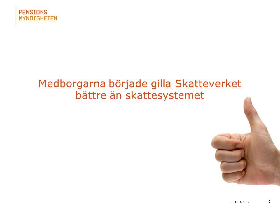 För att uppdatera sidfotstexten, gå till menyn: Visa/Sidhuvud och sidfot... Medborgarna började gilla Skatteverket bättre än skattesystemet 9 2014-07-
