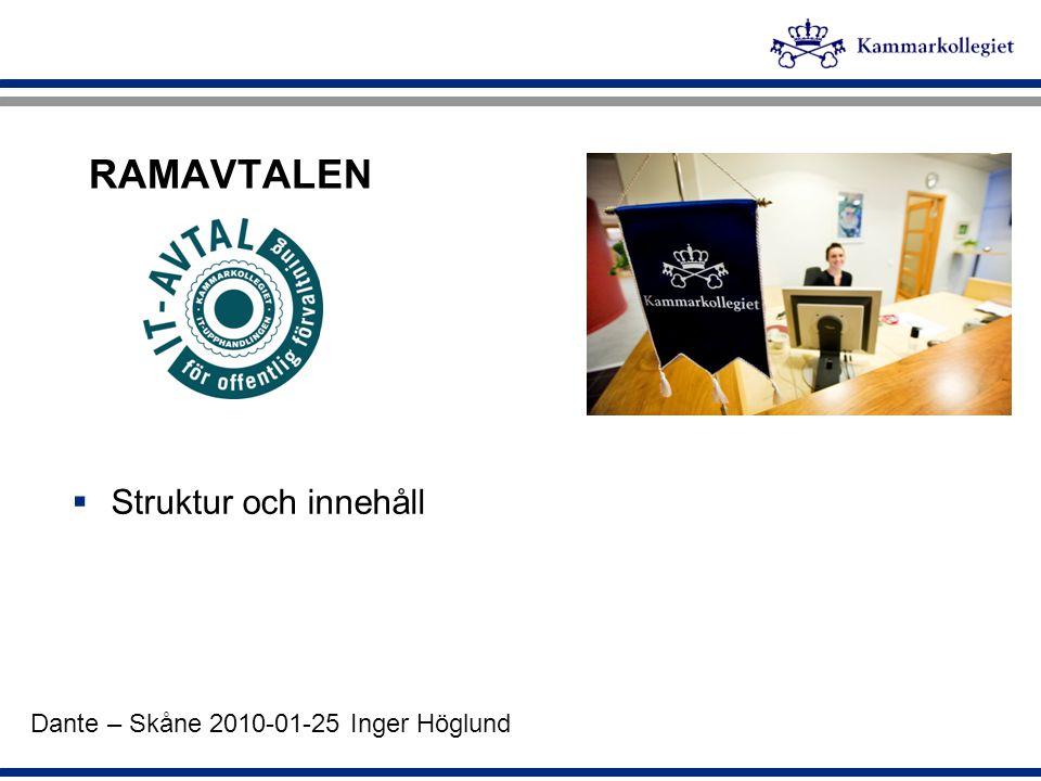 RAMAVTALEN  Struktur och innehåll Dante – Skåne 2010-01-25 Inger Höglund