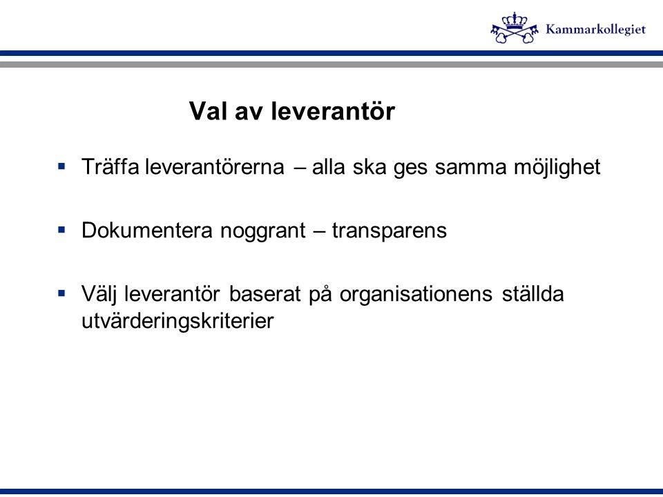 Val av leverantör  Träffa leverantörerna – alla ska ges samma möjlighet  Dokumentera noggrant – transparens  Välj leverantör baserat på organisatio