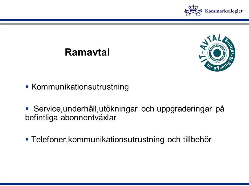 Ramavtal  Kommunikationsutrustning  Service,underhåll,utökningar och uppgraderingar på befintliga abonnentväxlar  Telefoner,kommunikationsutrustnin