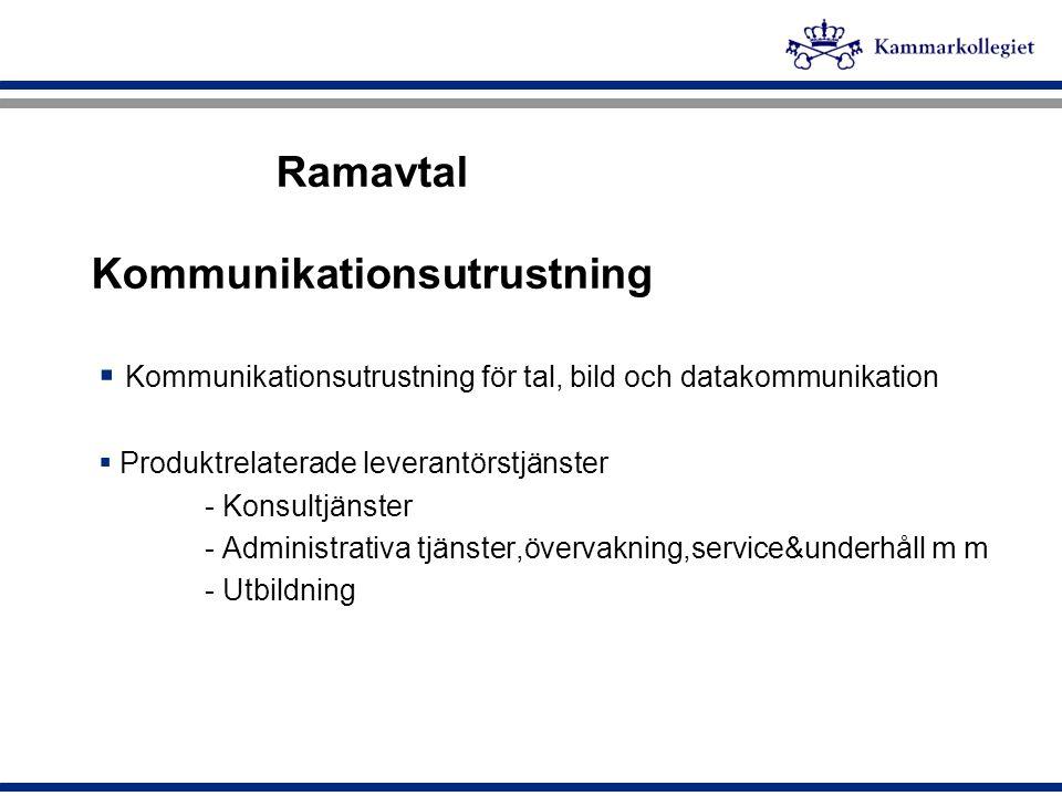 Ramavtal Kommunikationsutrustning  Kommunikationsutrustning för tal, bild och datakommunikation  Produktrelaterade leverantörstjänster - Konsultjäns
