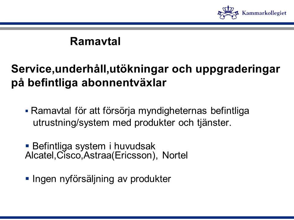 Ramavtal Service,underhåll,utökningar och uppgraderingar på befintliga abonnentväxlar  Ramavtal för att försörja myndigheternas befintliga utrustning