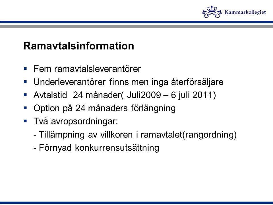 Ramavtalsinformation  Fem ramavtalsleverantörer  Underleverantörer finns men inga återförsäljare  Avtalstid 24 månader( Juli2009 – 6 juli 2011)  O