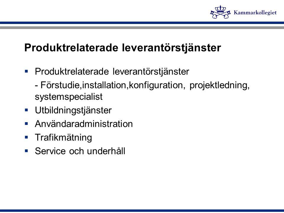 Produktrelaterade leverantörstjänster  Produktrelaterade leverantörstjänster - Förstudie,installation,konfiguration, projektledning, systemspecialist