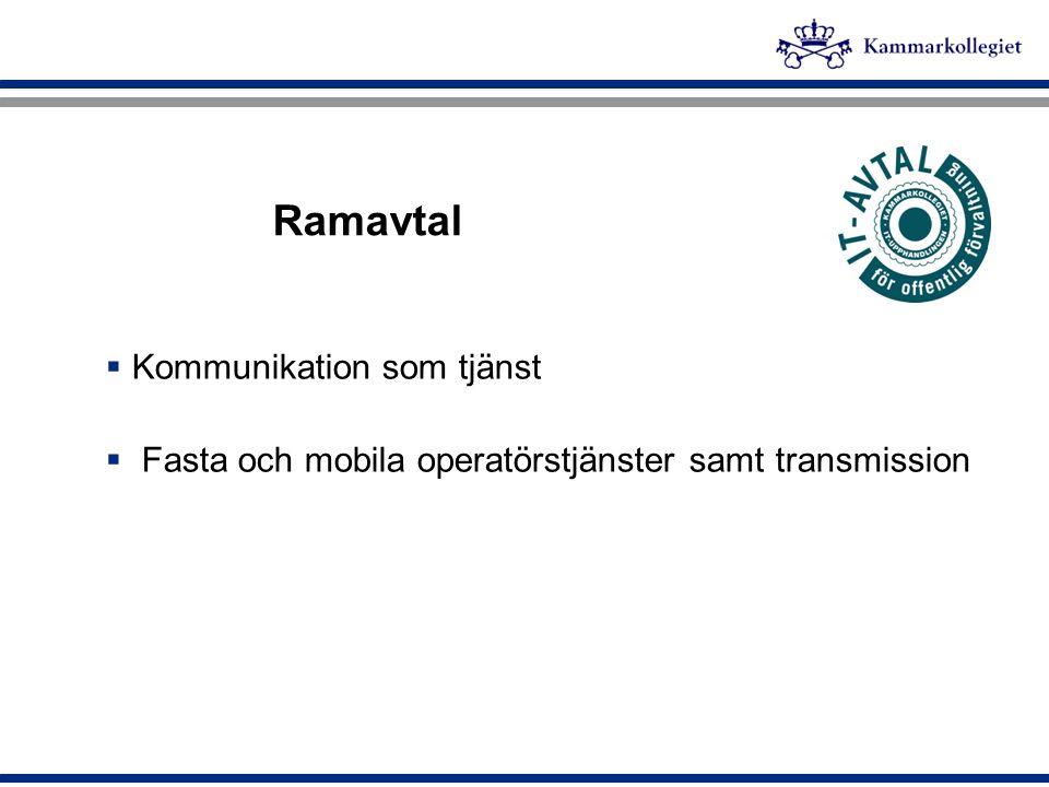 Ramavtal  Kommunikation som tjänst  Fasta och mobila operatörstjänster samt transmission