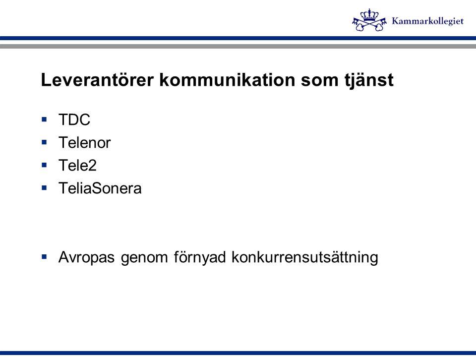 Leverantörer kommunikation som tjänst  TDC  Telenor  Tele2  TeliaSonera  Avropas genom förnyad konkurrensutsättning