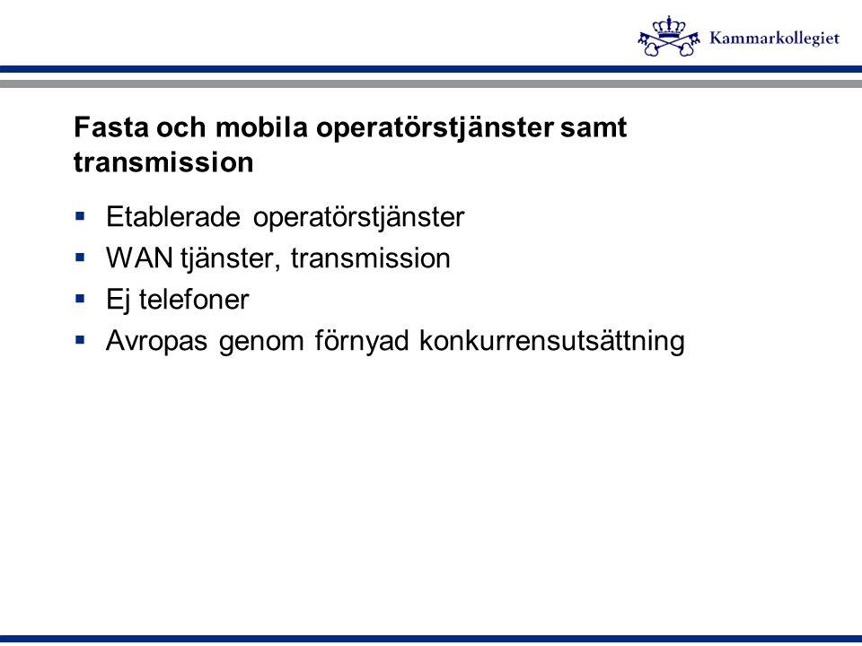 Fasta och mobila operatörstjänster samt transmission  Etablerade operatörstjänster  WAN tjänster, transmission  Ej telefoner  Avropas genom förnya