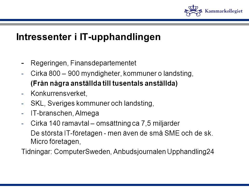 Intressenter i IT-upphandlingen - Regeringen, Finansdepartementet -Cirka 800 – 900 myndigheter, kommuner o landsting, (Från några anställda till tusen