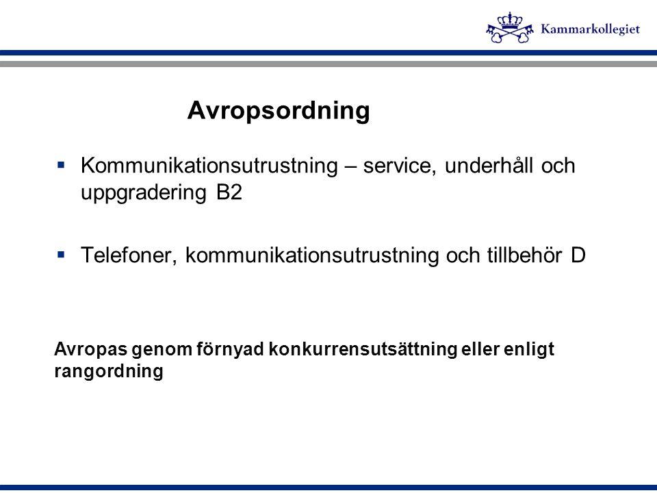 Ramavtalsinformation  Nio ramavtalsleverantörer  Underleverantörer finns men inga återförsäljare  Avtalstid 24 månader - 20110630  Option på 24 månaders förlängning  Två avropsordningar: - Tillämpning av villkoren i ramavtalet(rangordning) - Förnyad konkurrensutsättning