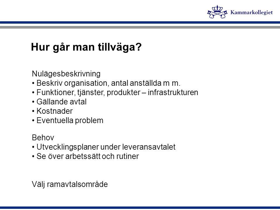 Intressenter i IT-upphandlingen - Regeringen, Finansdepartementet -Cirka 800 – 900 myndigheter, kommuner o landsting, (Från några anställda till tusentals anställda) -Konkurrensverket, -SKL, Sveriges kommuner och landsting, -IT-branschen, Almega -Cirka 140 ramavtal – omsättning ca 7,5 miljarder De största IT-företagen - men även de små SME och de sk.