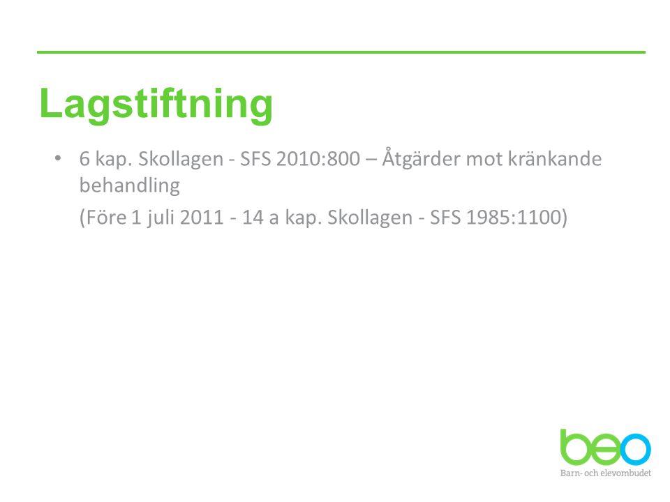 Lagstiftning • 6 kap. Skollagen - SFS 2010:800 – Åtgärder mot kränkande behandling (Före 1 juli 2011 - 14 a kap. Skollagen - SFS 1985:1100)