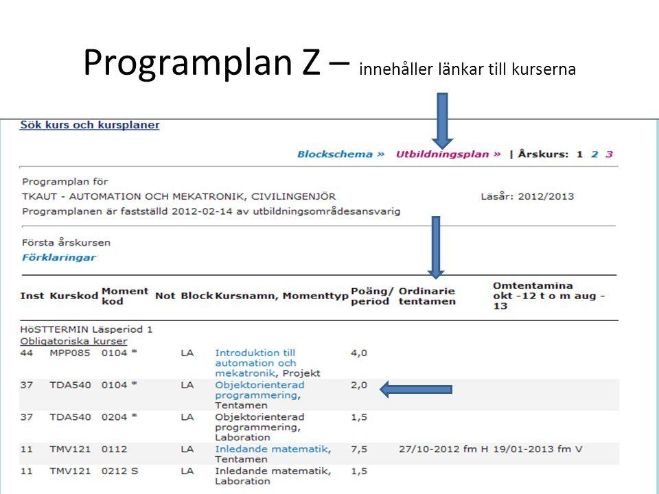 Programplan Z – innehåller länkar till kurserna