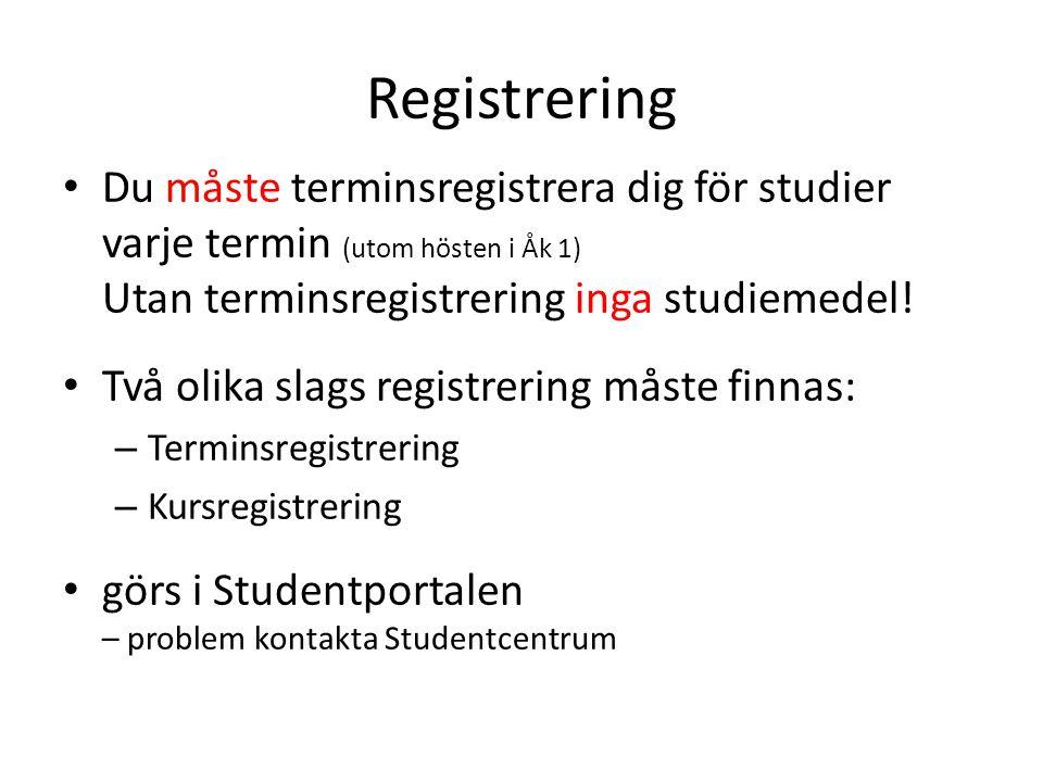 Registrering • Du måste terminsregistrera dig för studier varje termin (utom hösten i Åk 1) Utan terminsregistrering inga studiemedel! • Två olika sla