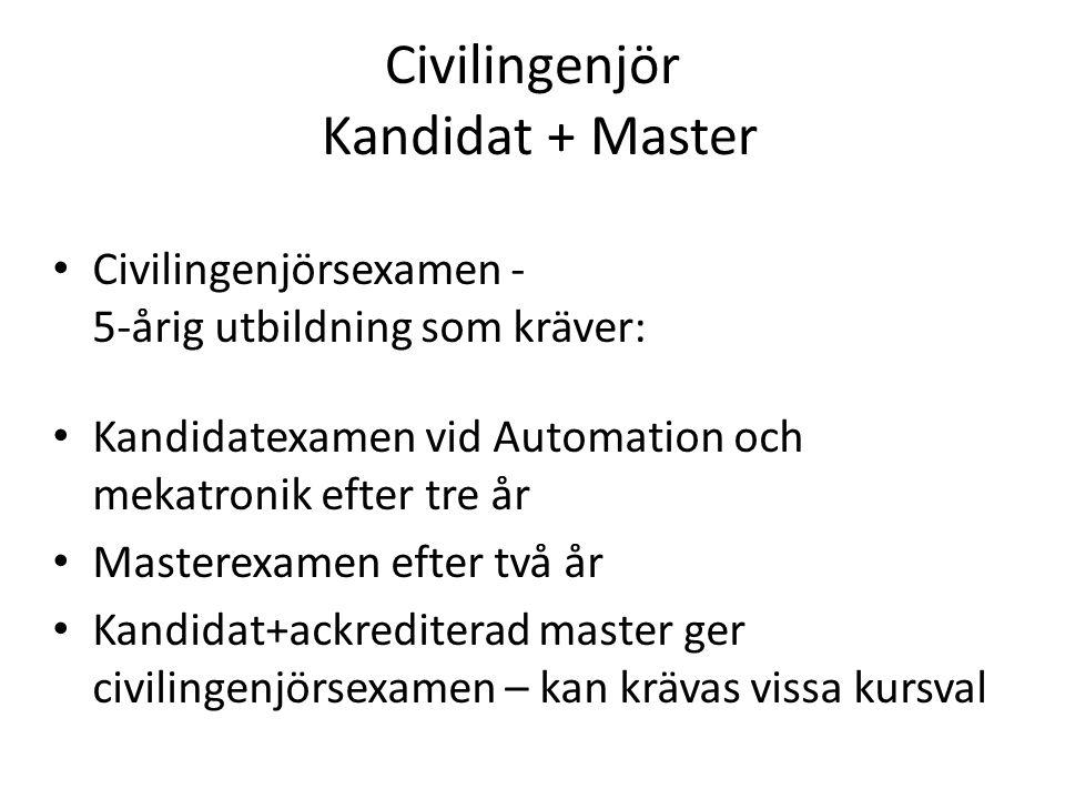 Civilingenjör Kandidat + Master • Civilingenjörsexamen - 5-årig utbildning som kräver: • Kandidatexamen vid Automation och mekatronik efter tre år • Masterexamen efter två år • Kandidat+ackrediterad master ger civilingenjörsexamen – kan krävas vissa kursval