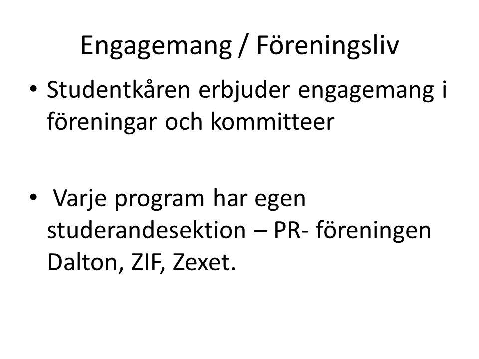 Engagemang / Föreningsliv • Studentkåren erbjuder engagemang i föreningar och kommitteer • Varje program har egen studerandesektion – PR- föreningen Dalton, ZIF, Zexet.