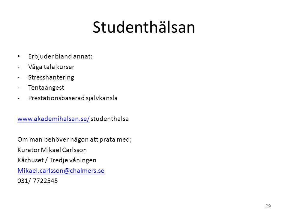 Studenthälsan • Erbjuder bland annat: -Våga tala kurser -Stresshantering -Tentaångest -Prestationsbaserad självkänsla www.akademihalsan.se/www.akademi