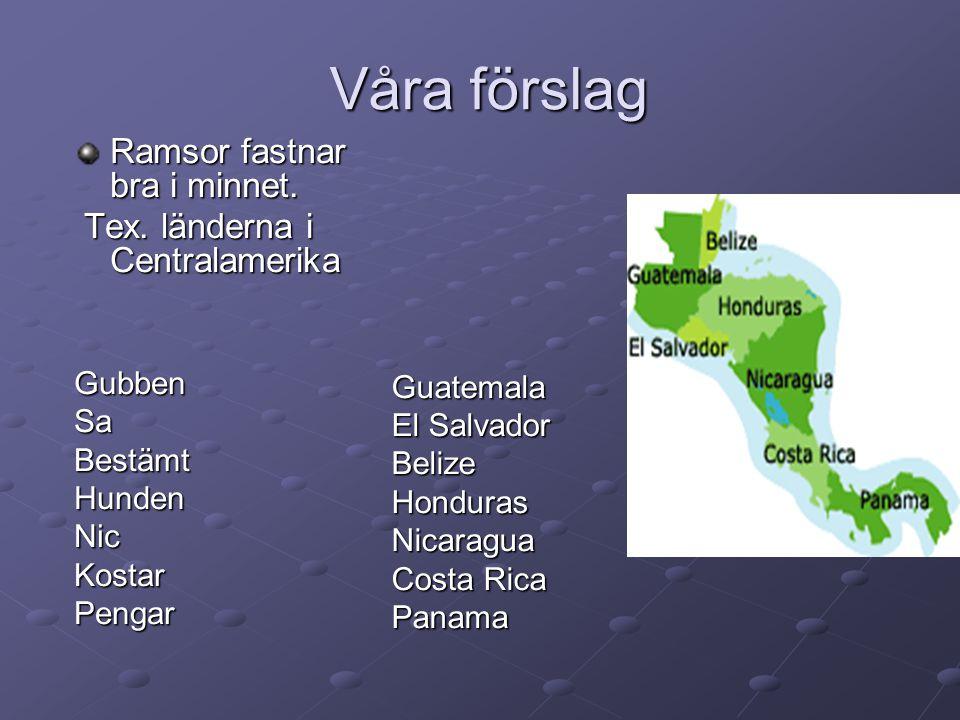 Våra förslag Ramsor fastnar bra i minnet. Tex. länderna i Centralamerika Gubben Sa Bestämt Hunden Nic Kostar Pengar Guatemala El Salvador BelizeHondur