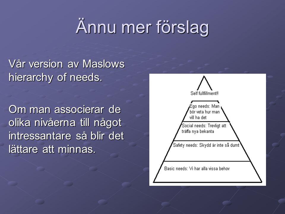 Ännu mer förslag Vår version av Maslows hierarchy of needs. Om man associerar de olika nivåerna till något intressantare så blir det lättare att minna