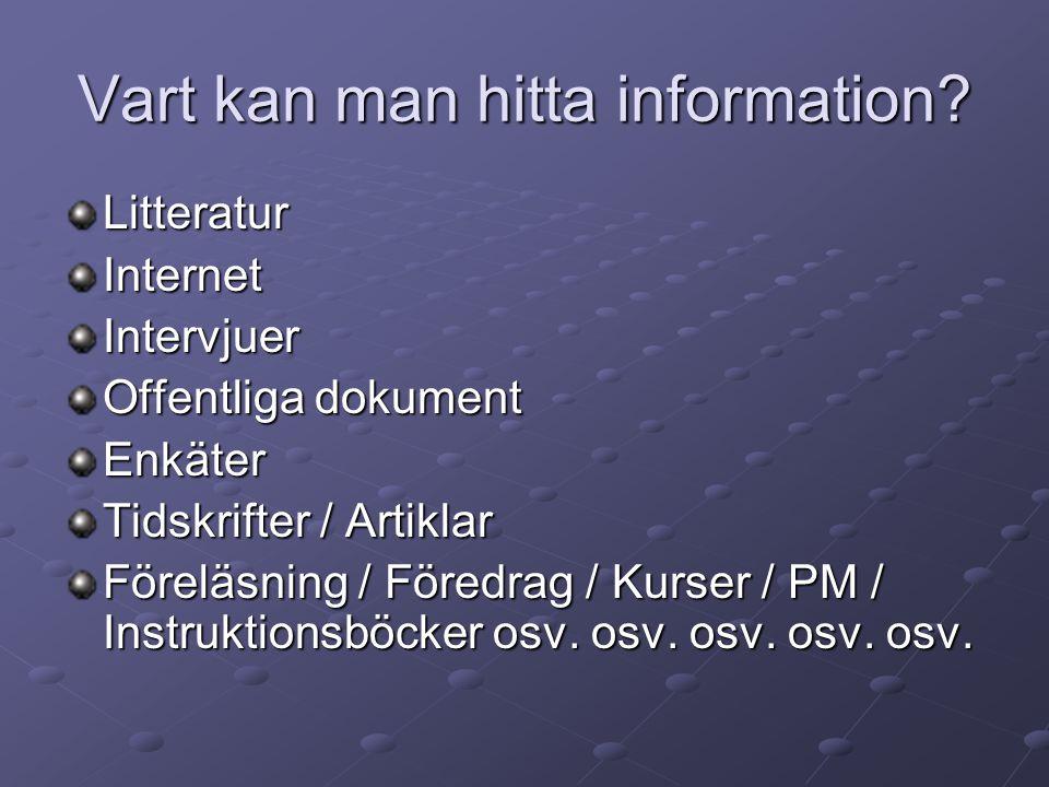 Vart kan man hitta information? LitteraturInternetIntervjuer Offentliga dokument Enkäter Tidskrifter / Artiklar Föreläsning / Föredrag / Kurser / PM /