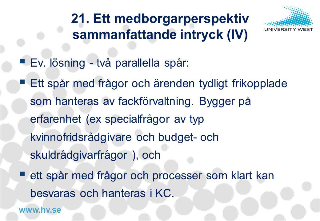 www.hv.se 21. Ett medborgarperspektiv sammanfattande intryck (IV)  Ev. lösning - två parallella spår:  Ett spår med frågor och ärenden tydligt friko