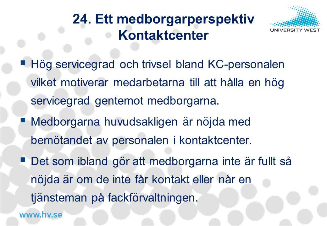 www.hv.se 24. Ett medborgarperspektiv Kontaktcenter  Hög servicegrad och trivsel bland KC-personalen vilket motiverar medarbetarna till att hålla en