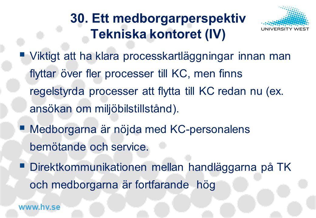 www.hv.se 30. Ett medborgarperspektiv Tekniska kontoret (IV)  Viktigt att ha klara processkartläggningar innan man flyttar över fler processer till K