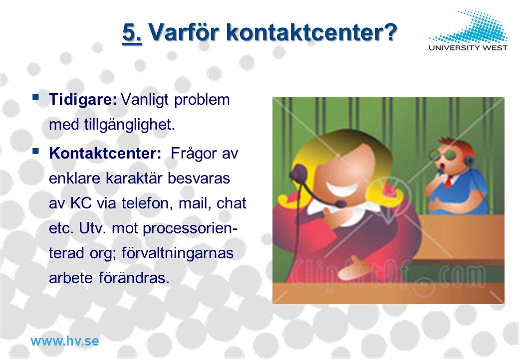 www.hv.se 5. Varför kontaktcenter?  Tidigare: Vanligt problem med tillgänglighet.  Kontaktcenter: Frågor av enklare karaktär besvaras av KC via tele