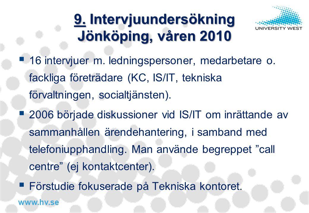 www.hv.se 9. Intervjuundersökning Jönköping, våren 2010  16 intervjuer m. ledningspersoner, medarbetare o. fackliga företrädare (KC, IS/IT, tekniska