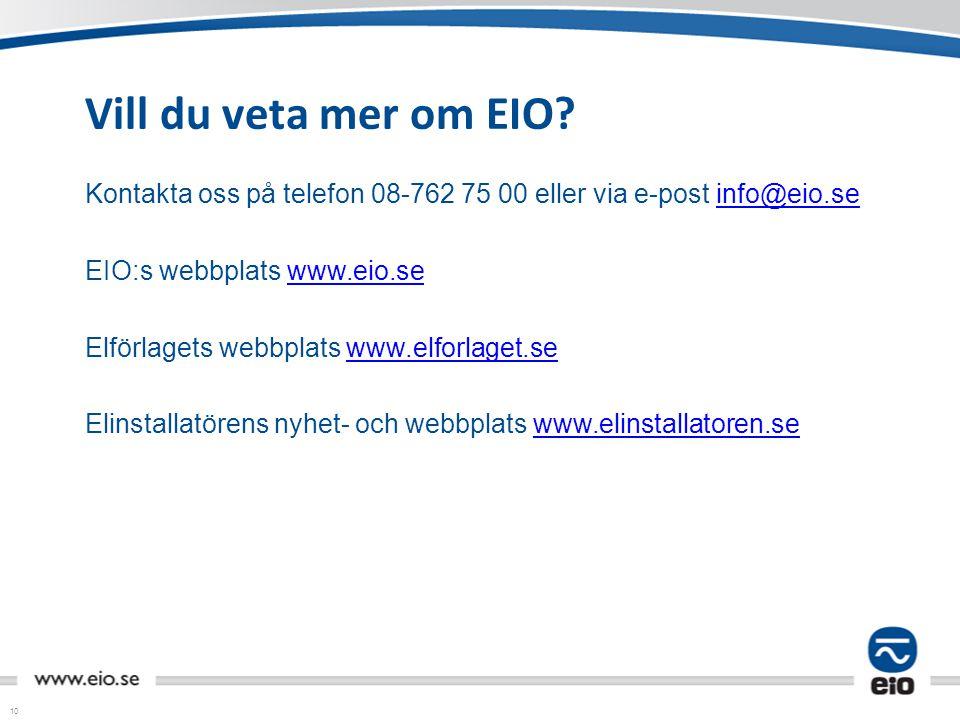 10 Vill du veta mer om EIO? Kontakta oss på telefon 08-762 75 00 eller via e-post info@eio.seinfo@eio.se EIO:s webbplats www.eio.sewww.eio.se Elförlag