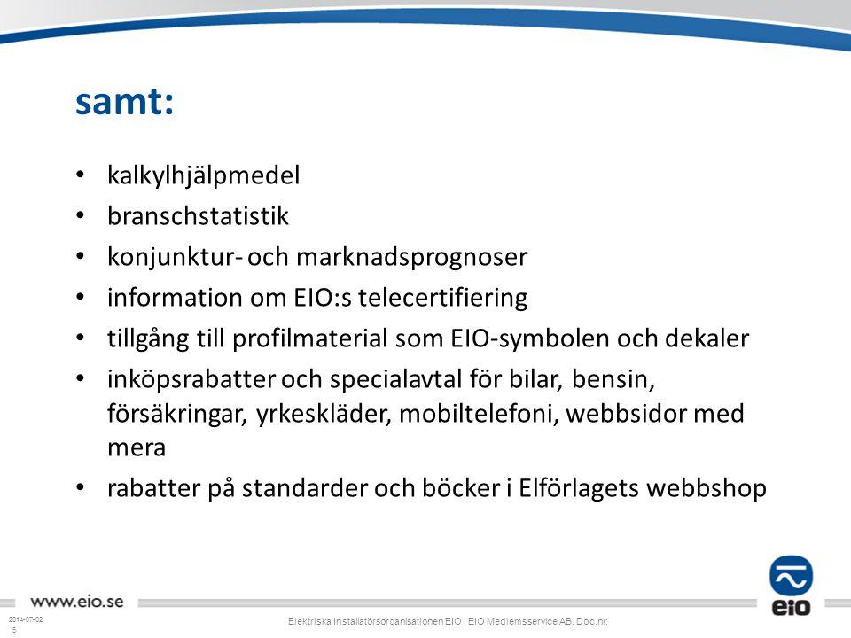 5 samt: • kalkylhjälpmedel • branschstatistik • konjunktur- och marknadsprognoser • information om EIO:s telecertifiering • tillgång till profilmateri