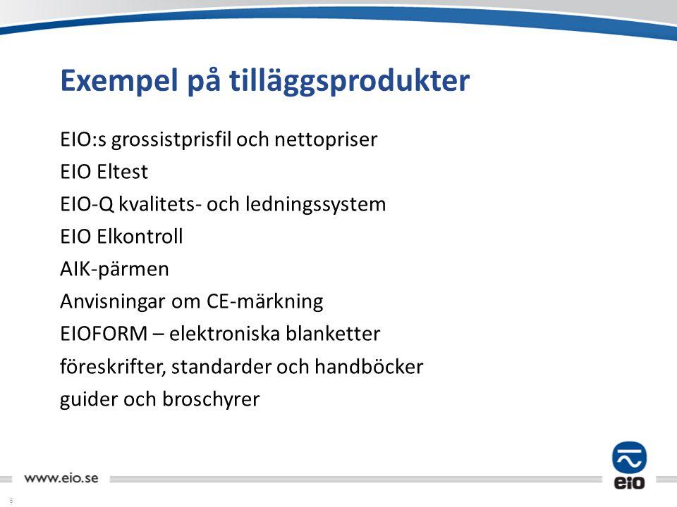 6 Exempel på tilläggsprodukter EIO:s grossistprisfil och nettopriser EIO Eltest EIO-Q kvalitets- och ledningssystem EIO Elkontroll AIK-pärmen Anvisnin