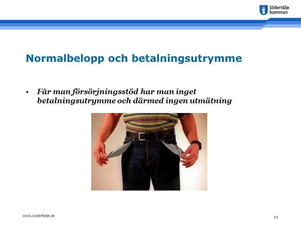 www.sodertalje.se 10 Normalbelopp och betalningsutrymme •Får man försörjningsstöd har man inget betalningsutrymme och därmed ingen utmätning