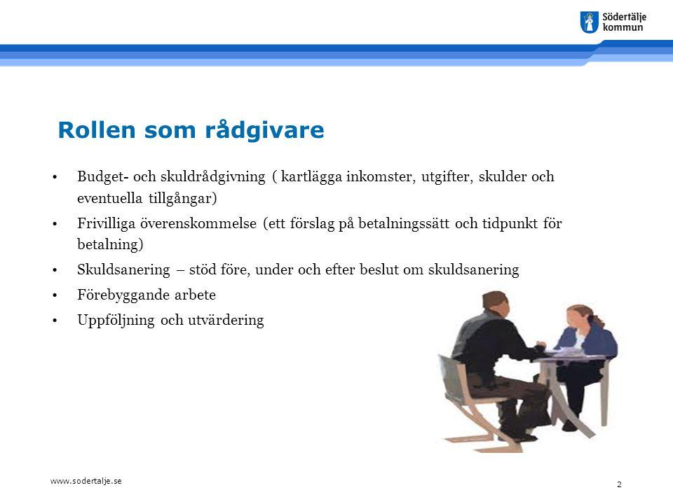 www.sodertalje.se 2 Rollen som rådgivare •Budget- och skuldrådgivning ( kartlägga inkomster, utgifter, skulder och eventuella tillgångar) •Frivilliga