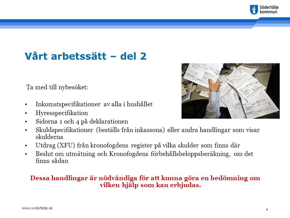 www.sodertalje.se 4 Vårt arbetssätt – del 2 Ta med till nybesöket: •Inkomstspecifikationer av alla i hushållet •Hyresspecifikation •Sidorna 1 och 4 på