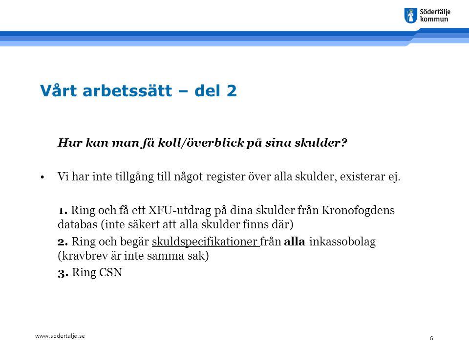 www.sodertalje.se 6 Vårt arbetssätt – del 2 Hur kan man få koll/överblick på sina skulder? •Vi har inte tillgång till något register över alla skulder