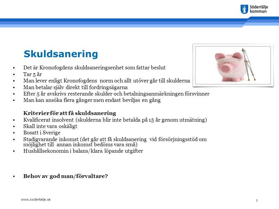 www.sodertalje.se 7 Skuldsanering •Det är Kronofogdens skuldsaneringsenhet som fattar beslut •Tar 5 år •Man lever enligt Kronofogdens norm och allt ut