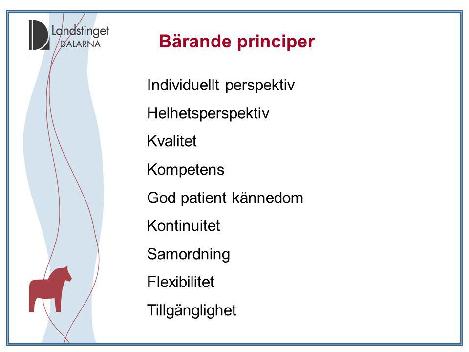 Bärande principer Individuellt perspektiv Helhetsperspektiv Kvalitet Kompetens God patient kännedom Kontinuitet Samordning Flexibilitet Tillgänglighet