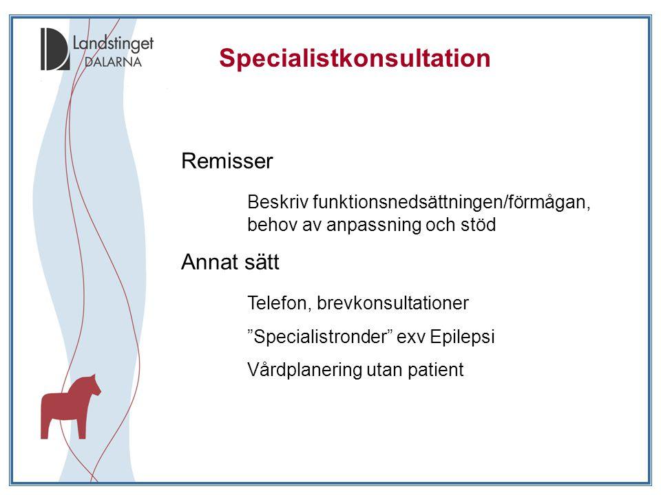 Specialistkonsultation Remisser Beskriv funktionsnedsättningen/förmågan, behov av anpassning och stöd Annat sätt Telefon, brevkonsultationer Specialistronder exv Epilepsi Vårdplanering utan patient