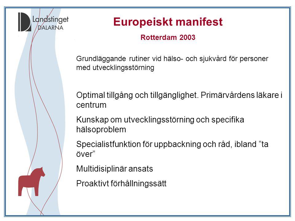 Europeiskt manifest Rotterdam 2003 Grundläggande rutiner vid hälso- och sjukvård för personer med utvecklingsstörning Optimal tillgång och tillgänglighet.