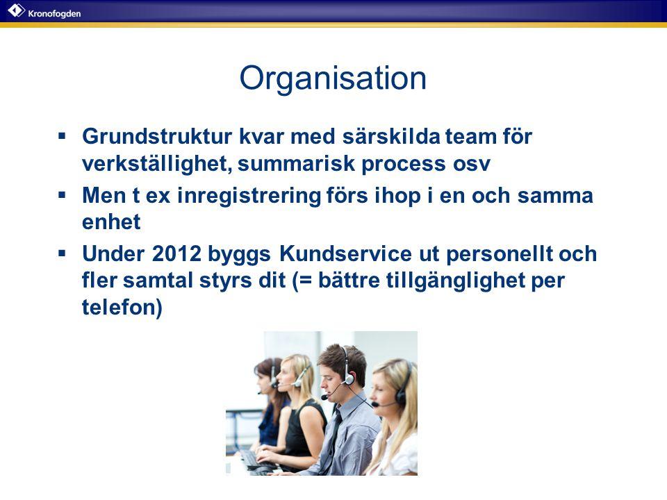 Organisation  Grundstruktur kvar med särskilda team för verkställighet, summarisk process osv  Men t ex inregistrering förs ihop i en och samma enhe