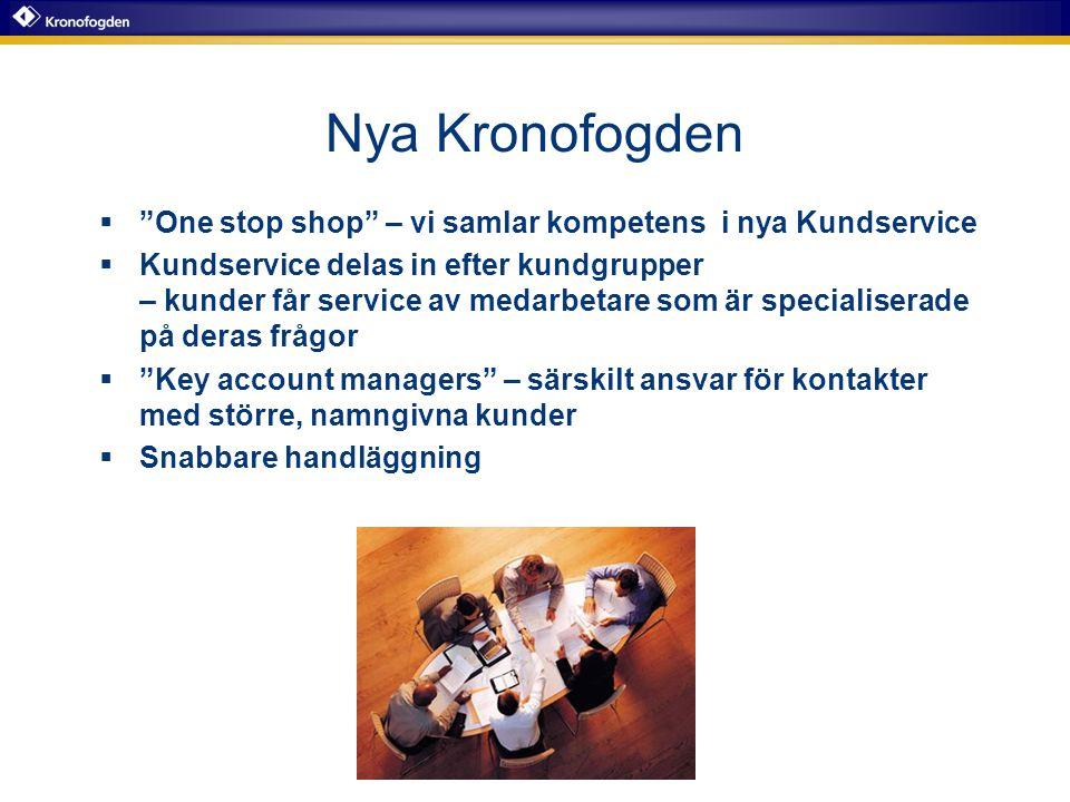 """Nya Kronofogden  """"One stop shop"""" – vi samlar kompetens i nya Kundservice  Kundservice delas in efter kundgrupper – kunder får service av medarbetare"""