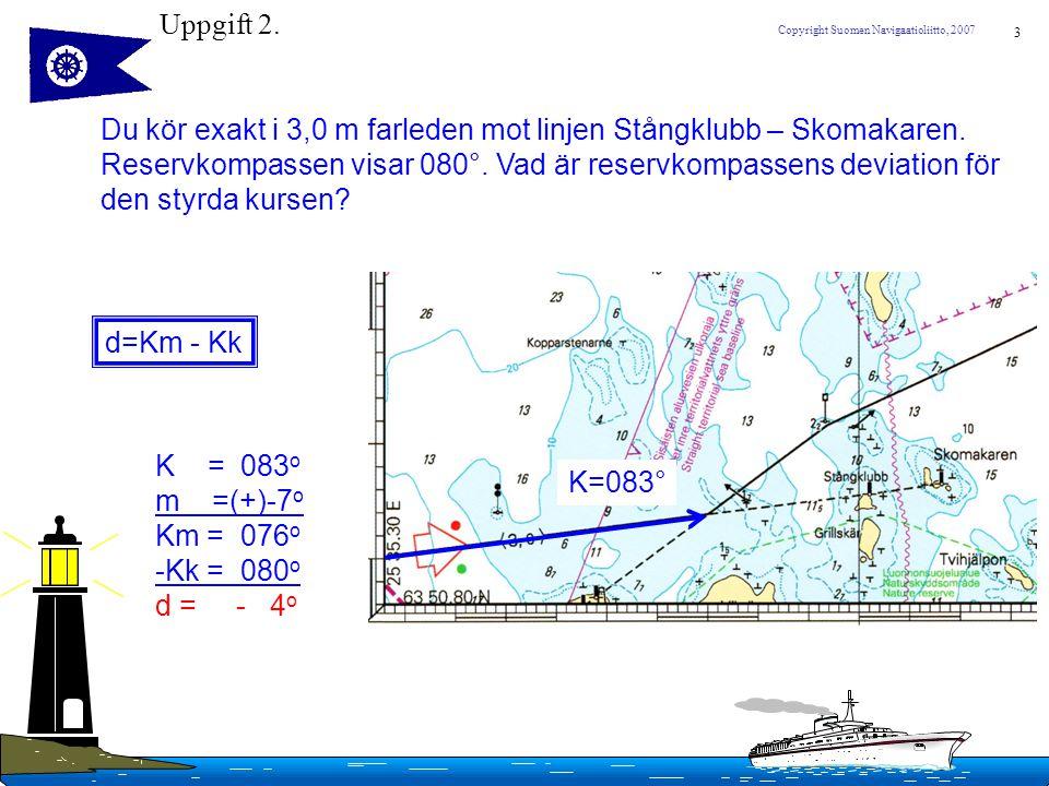 3 Copyright Suomen Navigaatioliitto, 2007 Uppgift 2. Du kör exakt i 3,0 m farleden mot linjen Stångklubb – Skomakaren. Reservkompassen visar 080°. Vad
