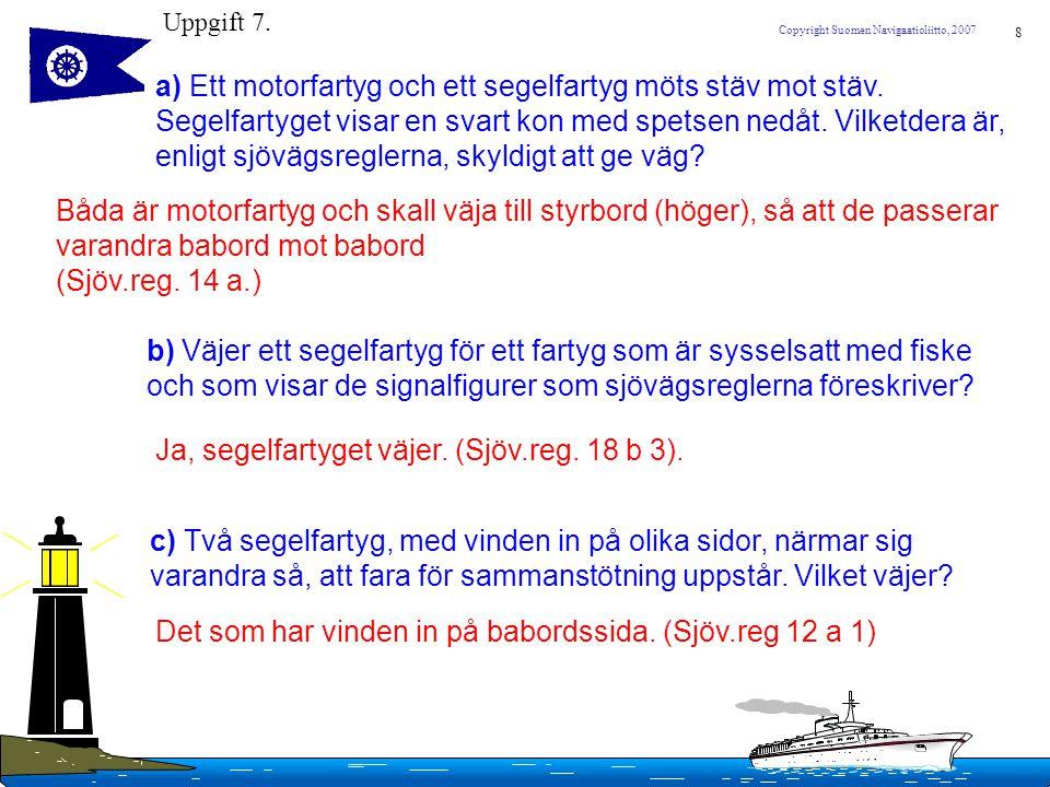 8 Copyright Suomen Navigaatioliitto, 2007 a) Ett motorfartyg och ett segelfartyg möts stäv mot stäv. Segelfartyget visar en svart kon med spetsen nedå
