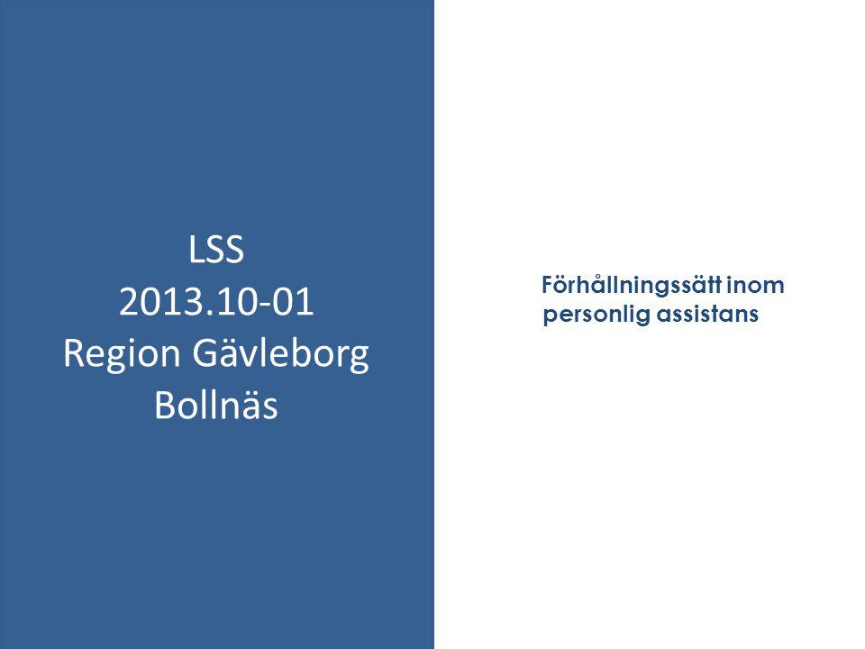 Förhållningssätt inom personlig assistans LSS 2013.10-01 Region Gävleborg Bollnäs