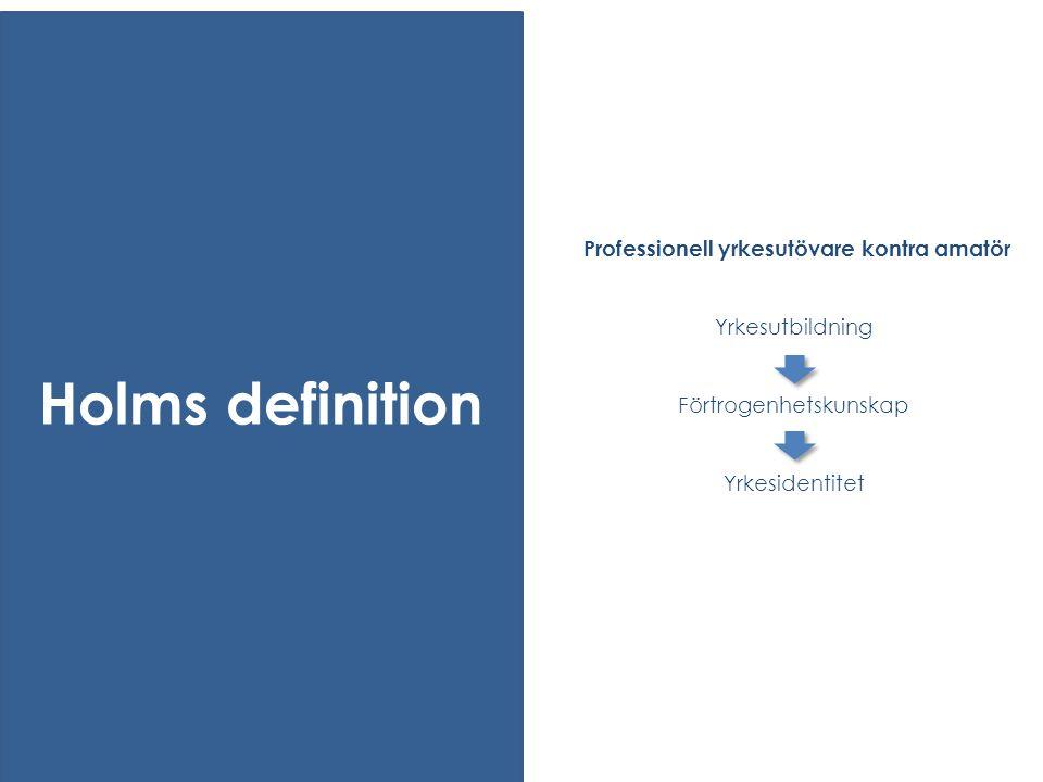 Professionell yrkesutövare kontra amatör Yrkesutbildning Förtrogenhetskunskap Yrkesidentitet Holms definition